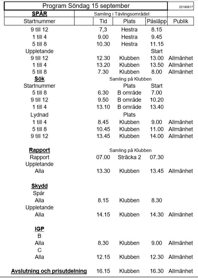 Program söndag 15 september Nordiska Mästerskapen