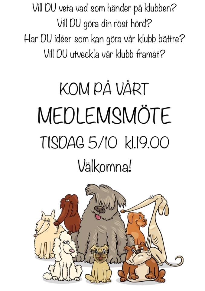 Medlemsmöte 5 okt 19,00